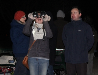 Valentine and binoculars